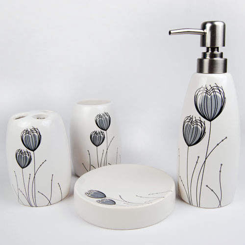 Heart to heart ceramic bath accessory set modern for Ceramic bathroom accessories sets