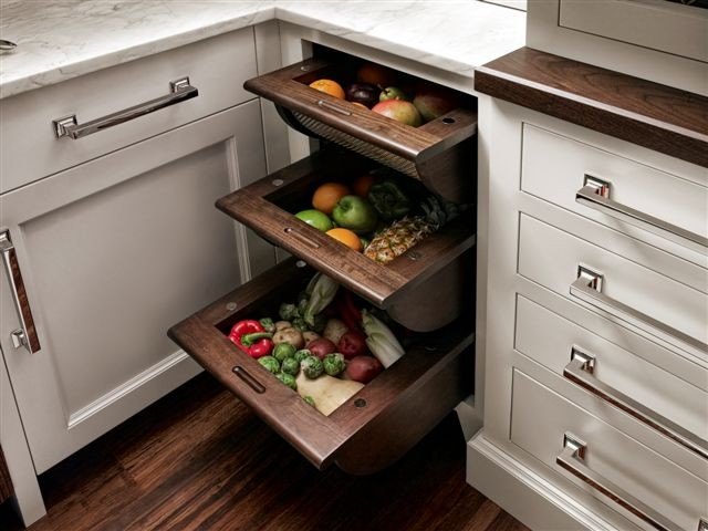 Fruit and Vegetable Drawers - Traditional - new york - by Trish Namm, Allied ASID - Kent Kitchen ...