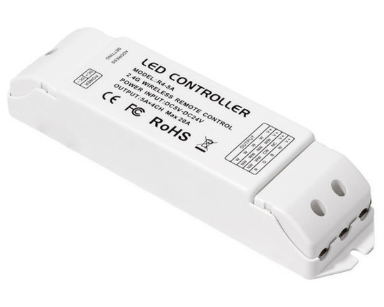 EnvironmentalLights - 4-in-1 LED WiFi Receiver - The 4-in-1-Receiver is an easy way to control white, white adjustable, RGB ColorPlus, RGB 5, 12, or 24 volt DC LED strip lights or other RGB LEDs. Compatible with the 4-in-1 LED WiFi Controller, this receiver has a high pulse width modulation (PWM) frequency to reduce risk of flicker when using high frequency cameras. When paired with the 4-in-1 LED WiFi Controller and the smartphone application, an unlimited number of receivers can be controlled within each zone. Simplify your installation and eliminate wires by using multiple receivers. Control a different type of LED lighting in each unique zone (up to 12 zones)! Using the remote, save favorite settings to a memory function and restore them with the push of a button. 5 amps per channel maximum load. Power off memory function. Radio frequency remote control works through walls with effective range of up to 100 feet. You do not need to connect the wireless receivers to each other or the remote control. Just connect your lights to the wireless receivers.