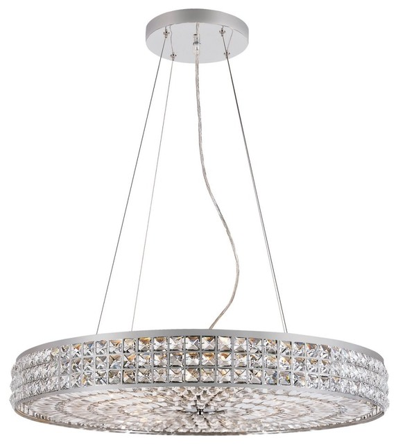 Transglobe PND-919 Pendant - Polished Chrome - 28W in. modern-pendant-lighting