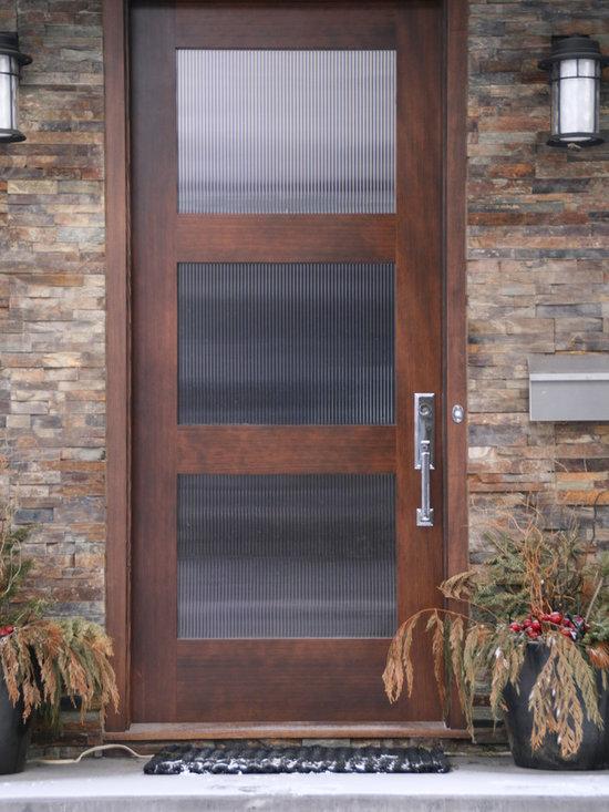 River City Woodworks in Fernie BC - Modern Doors - Verticle Grain Fir with Reeded Glass, Emtek hardware
