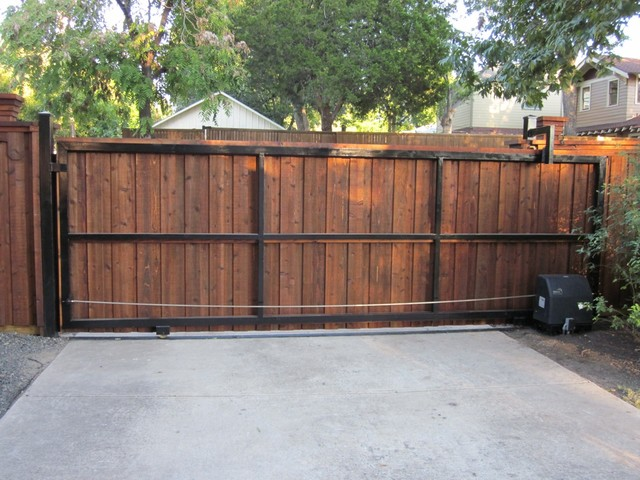Rear View Cedar Board Batten Automatic Sliding Gate - dallas - by Texas Best Fence