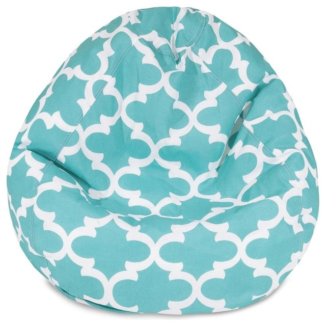 Trellis bean bag chair teal small midcentury patio for Small teal chair