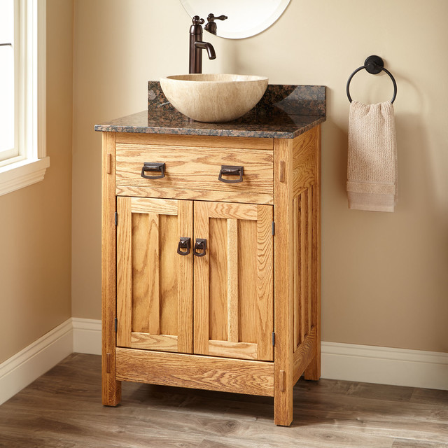 24 Narrow Mission Hardwood Vessel Sink Vanity Transitional Bathroom