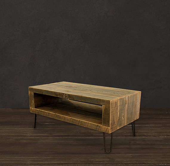 Reclaimed wood coffee table open storage area modern Reclaimed wood furniture colorado