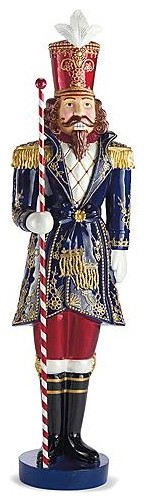 Regal Blue Nutcracker - Outdoor Christmas Decorations traditional-outdoor-holiday-decorations