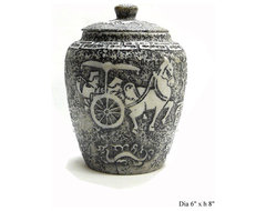 Chinese Jade Stone Carved Horse Cart Jar asian-artwork