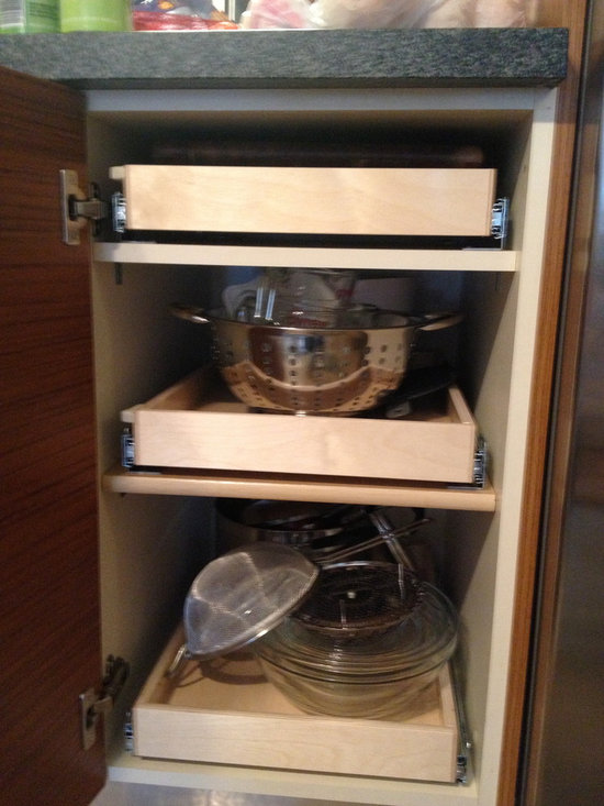 Kitchen Pull Out Shelves - Pull out shelves from ShelfGenie of Los Angeles will increase both your visibility and accessibility to everything stored inside your cabinets.