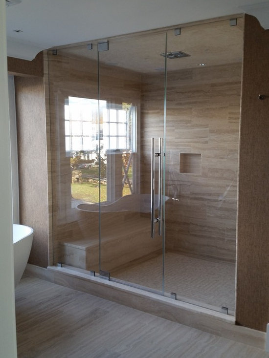 "Frameless Shower Doors, Frameless Glass Enclosures - Photo taken by ATM staff on site.  Private residence.  1/2"" PPG Starphire Low iron glass.  Home to be professionally photographed.  Hardware by CR Laurence."