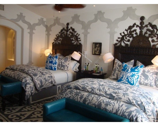 mexican otomi fabric - otomi bedspreads + pillows, shyrdak rugs in a client's mexican home