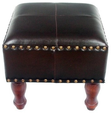 Seville 16 in. Square Faux Leather Stool - Dark Chocolate modern-ottomans-and-cubes