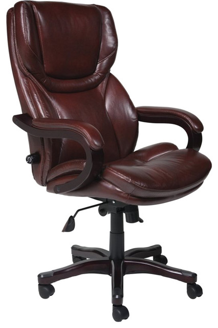 chair in brown bonded leather transitional office chairs by