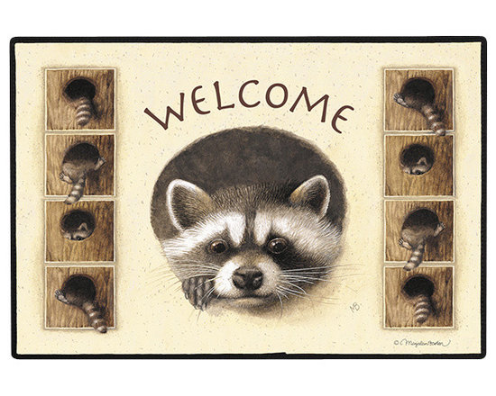 430-Raccoon Doormat - 100% Polyester face, permanently dye printed & fade resistant, nonskid rubber backing, durable polypropylene web trim on the porch or near your back entrance to the house with indoor and outdoor compatible rugs that stand up to heavy use and weather effects