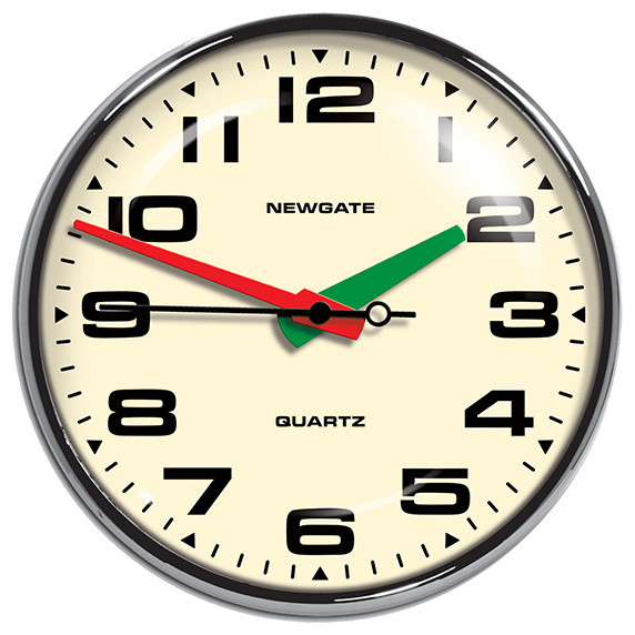 Brixton Wall Clock - Chrome - Newgate Clocks modern