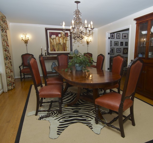 Dining Room With Cowhide Rug