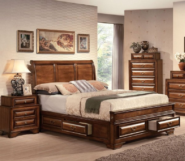 Acme Furniture Konance Brown Cherry Sleigh 5 Piece California King Bedroom Set Traditional