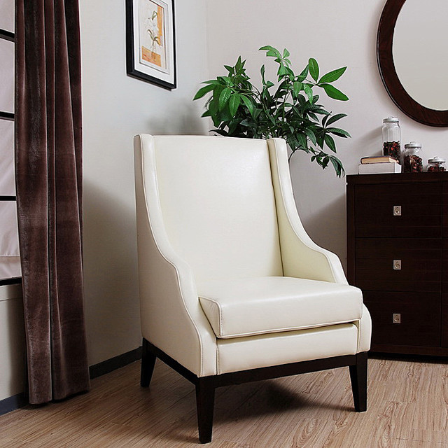 Lummi White Leather High-back Chair - Contemporary ...