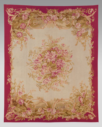 French Market Collection Red Hollyhock Rug traditional-rugs