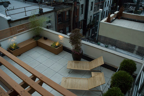 NYC Terrace Deck: Roof Garden, Pavers, Pergola, Bench, Chaise Lounges, Fence contemporary-deck