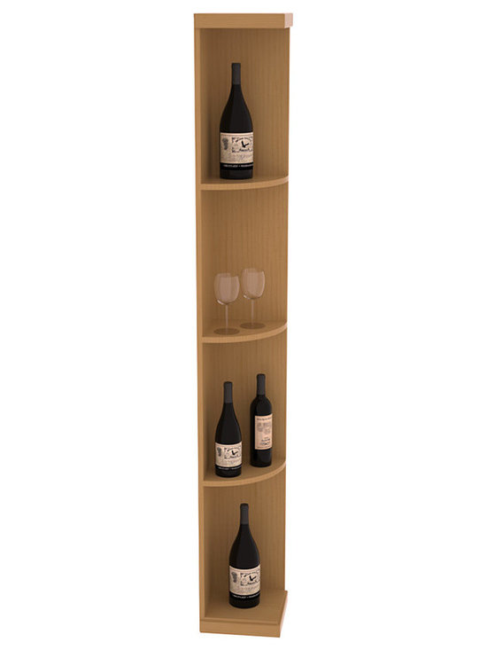 Quarter Round Wine Display in Pine with Oak Stain + Satin Finish - Highly decorative Quarter Round Wine Displays are the perfect solution to racking around corners. Designed with a priority on functionality, these wine storage units are excellent as end caps to walls of wine racking or as standalone shelving.