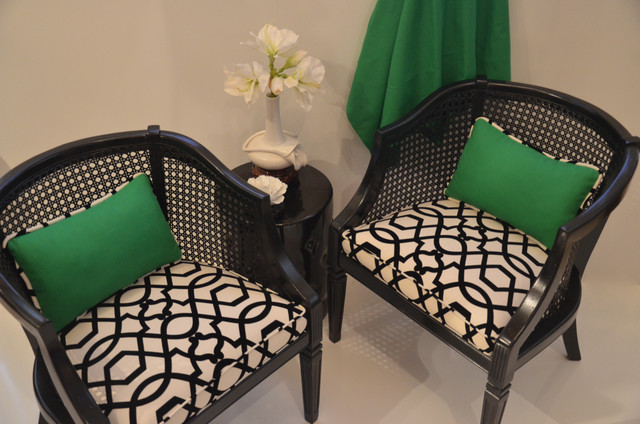 black and white cane with green accents Transitional