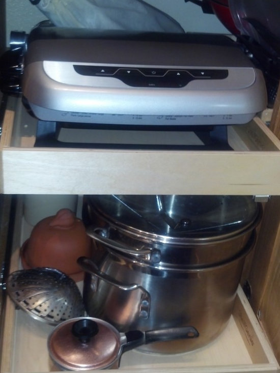 Kitchen Pull Out Shelves - ShelfGenie of Los Angeles custom pull out shelves are strong enough to hold up to 100 pounds, so store appliances in your cabinets instead of on your counters.