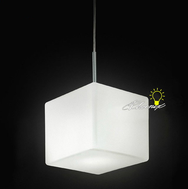 Modern Single Depolished Square White Glass Pendant