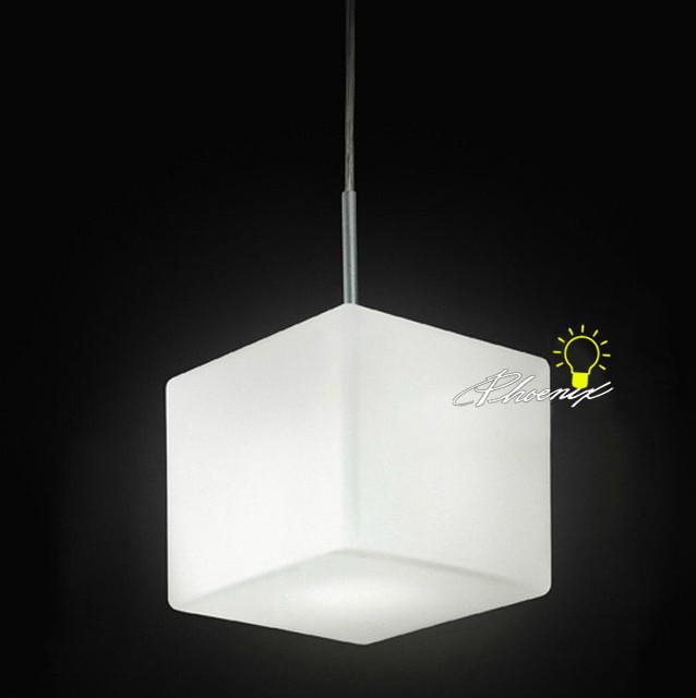 Modern single depolished square white glass pendant lighting