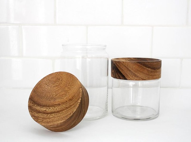 Wood Glass Canisters modern-bathroom-canisters