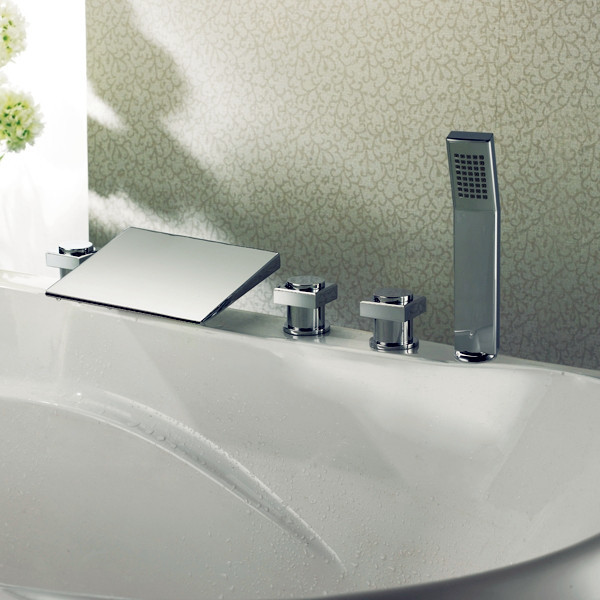 3-Color Deck Mounted LED Bath Faucets Triple Handles modern-bathtubs