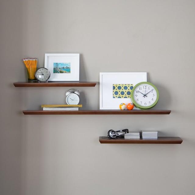 Belham Living Easy-Mount Floating Shelves - Set of 3 - Espresso Dark Brown - KG- - Contemporary ...