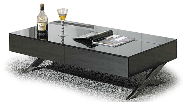 MODERN HIGH GLOSSY GRAY COFFEE TABLE GENOA Modern