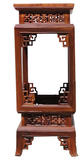Chinese Yellow Rosewood Square Carving Plant Pedestal Stand asian-side-tables-and-end-tables