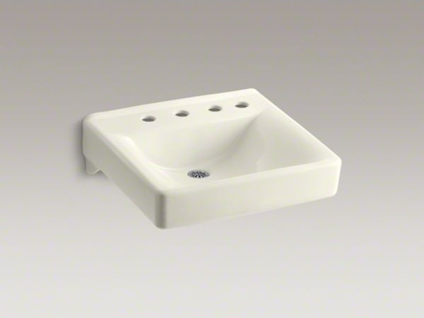 """KOHLER Soho(R) 20"""" x 18"""" wall-mount/concealed arm carrier bathroom sink with 8"""" contemporary-bathroom-faucets"""