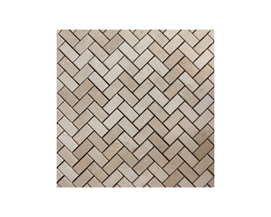 Crema Marfil Herringbone Natural Stone Mosaic -