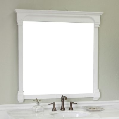 Bellaterra home calabria 42 in solid frame mirror white for White framed mirror