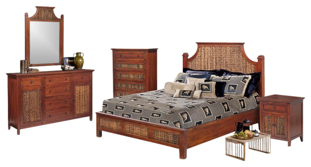 fiji tropical rattan and wicker 5 piece bedroom set