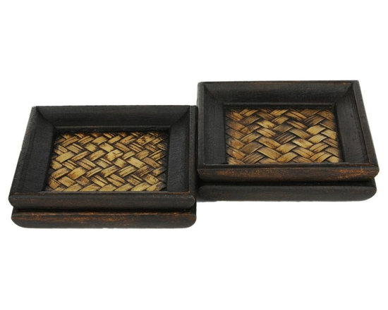 Cane and Wood Coasters - The time-tested appeal of basket weave design and the durability of cane make this coaster set a unique as well as functional addition to your dinner table. A melee of earthy browns on the coaster doubles it up as an accent piece for your dining room as well.
