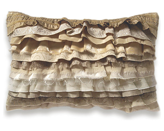 Cream Beige Ivory Off White Gold Bohemian Ruffle Pillow Case 12 x 18 in -