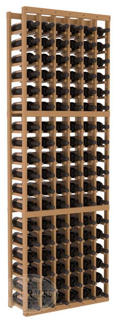 6 Column Standard Cellar Kit in Pine with Oak Stain + Satin Finish traditional-wine-racks