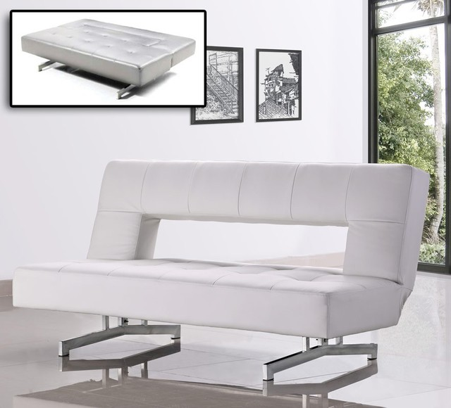 0926 Fold Out Leatherette Sofa Bed Modern Sleeper Sofas