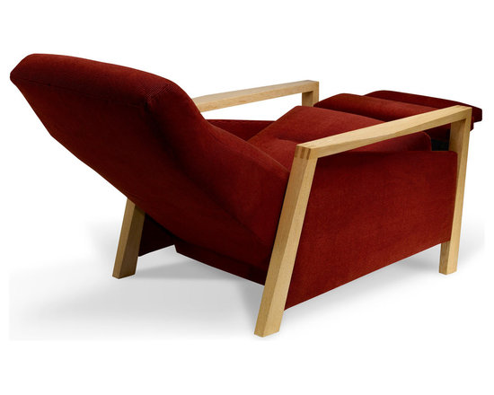 Nikko Reclining Lounge Chair - Tightly upholstered construction; solid white oak arms and legs.  David Papas Photographer