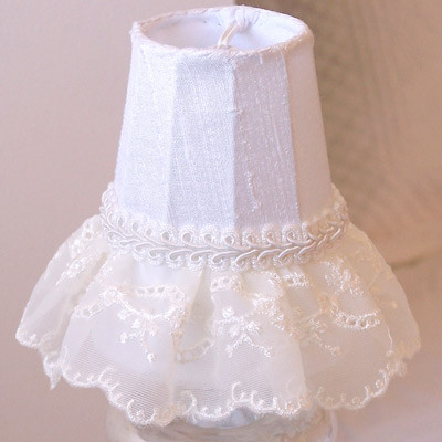 Embroidered Lace Ruffled Chandelier Shade traditional-lighting-globes-and-shades