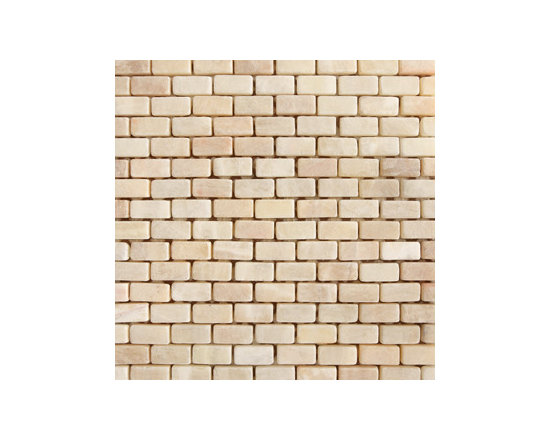 "1""x1.5"" Honey Onyx Tumbled Brick Natural Stone Mosaic -"