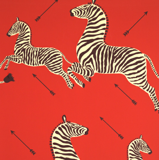 Zebras Wallpaper, Masai Red eclectic wallpaper