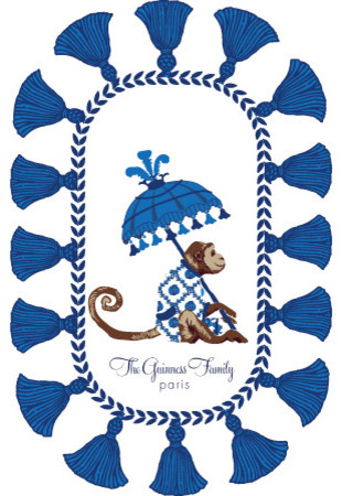 Monkey With Parasol Blue Tray eclectic serveware