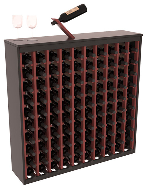 Two Tone 100 Bottle Deluxe Wine Rack in Pine, Black and Cherry Stain + Satin contemporary-wine-racks