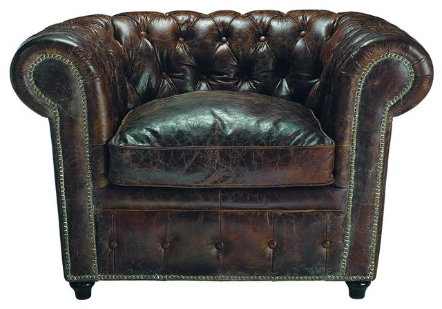 Brown Leather Armchair traditional-accent-chairs