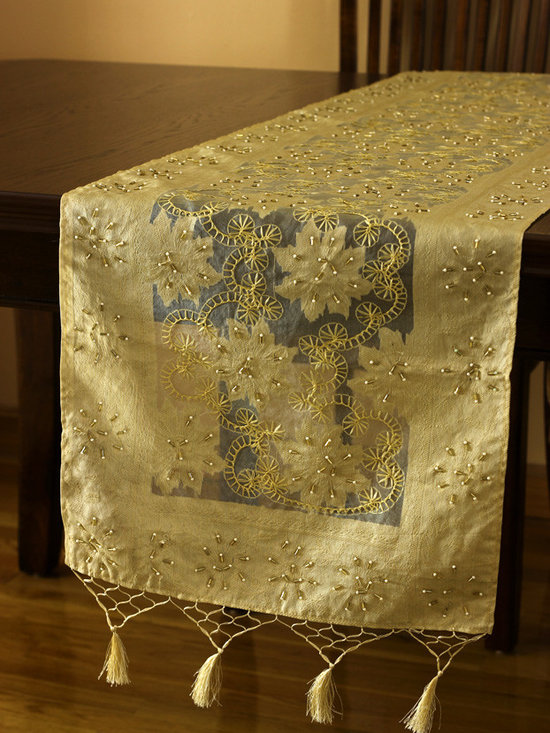 Elegant Table Runners - Dazzling 100% Silk Table Runner. Inspired by the Fall Season. Hand crafted in India. Light Gold color.