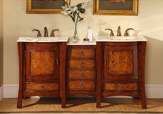 Silkroad Exclusive Marble Top 67-inch Double Sink Vanity Cabinet contemporary-bathroom-vanities-and-sink-consoles